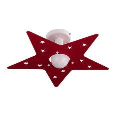 Stella Flush Ceiling Light, Red