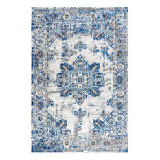 Modern Persian Boho Vintage Medallion Cream/Blue 5' x 8' Area Rug