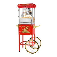Hot and Fresh Popcorn Machine With Cart by Superior Popcorn Co., Red
