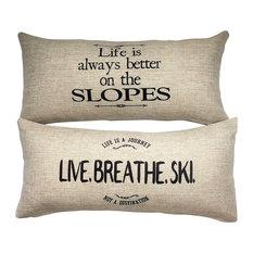 Ski Snowboard Mountain Lodge Message Gift Pillow