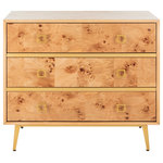 Safavieh - Safavieh Katia 3-Drawer Chest, Natural, Gold - A natural beauty, this contemporary 3-drawer chest upgrades any living room or bedroom. Finely crafted to highlight the pattern of its natural wood, its generous drawers ensure easy organization. Its posh gold-finished legs give it a charming retro spin.
