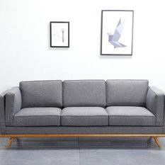 Scandinavian Style Grey 3-Seater Sofa, Solid Wood