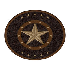 "Texas Star Western Rustic Cowboy Decor Brown Black Anti Skid Oval Rug, 3'3"" Roun"