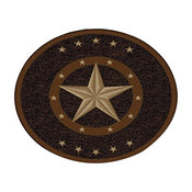 "Texas Star Western Rustic Cowboy Decor Brown Black Anti Skid Rug, 3'3"" Round"