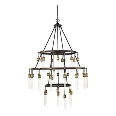 Campbell 35-Light Chandelier, Vintage Black With Warm Brass