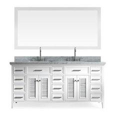 "Kensington 73"" Double Sink Vanity Set, White"