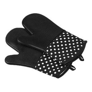 Kitchen Gloves Cooking Gloves Silicon E Oven Mitts Black, 2-Piece Set