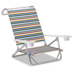 Telescope Casual Furniture - Mini-Sun Chaise Folding Arm Chair, Polymer Arms, Classic Stripe, Set of 2 - This Chair is 100% designed, manufactured, and assembled in the USA.