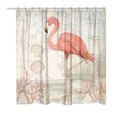 """Laural Home Coastal Flamingo Shower Curtain, 71""""x74"""""""