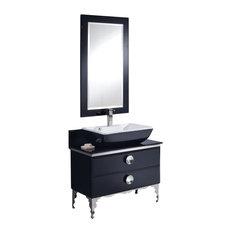 "Fresca Moselle 36"" Modern Glass Bathroom Vanity With Mirror"