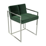 Federico Dining Chair, Green Velvet, Chrome Frame