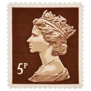 Brown 5p Stamp Rug, 100x120 cm