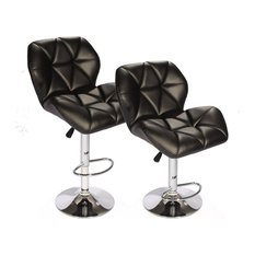 Tripatch Modern Pu Height Adjustable Dining Bar Stool In Black Set Of 2
