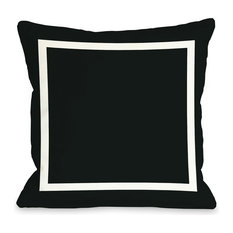"""Samantha Square"" Indoor Throw Pillow by OneBellaCasa, Black, 16""x16"""