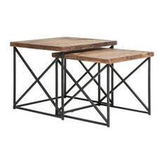 Industrial Wood Nesting Table with Metal BaseSet of 2Brown and Black by Benzara Woodland Imprts The Urban Port