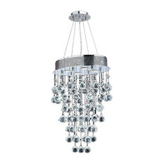 Oval Chandeliers: Worldwide Lighting - Icicle 4-Light Chrome Finish Raindrop Crystal  Chandelier 16