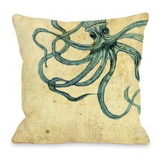 """""""Octopus"""" Indoor Throw Pillow by OneBellaCasa, 18""""x18"""""""