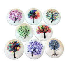 Colorful Trees Wood Cabinet Knobs, Set of 8