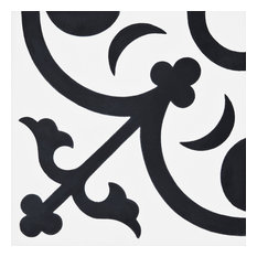 "8""x8"" Nador Handmade Cement Tile, White/Black, Set of 12"