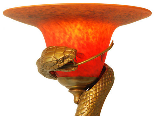 Art Deco Cast Bronze Snake Floor Lamp with Mouth-Blown Shade