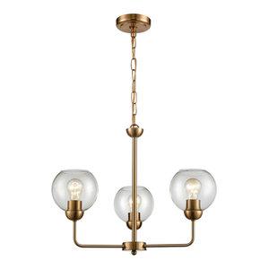 Astoria 3 Light Chandelier in Satin Gold