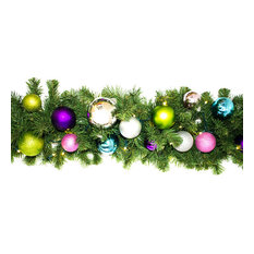 Queens of Christmas - 9' Pre-Lit Warm White LED Blended Pine Garland, The Victorian Ornament - Wreaths and Garlands