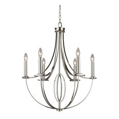 Dione 6-Light Chandelier, Polished Nickel