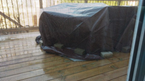 We Have A Patio Set That We Are Leaving Out On Our Deck For The Winter. We  Covered It With Tarp And Have Placed Interlock Bricks On The Tarp To Secure  It.