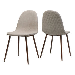 GDF Studio Camden Fabric Dining Chairs With Wood Finished Legs, Set of 2