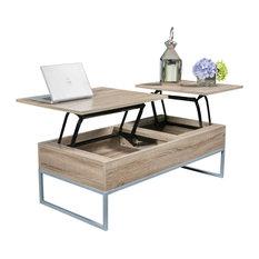 GDF Studio Ditmar Natural Brown Lift Top Storage Coffee Table