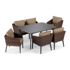 Salino 7-Piece Dining Table Set, Eiland Table, Carbon and Sable, Truffle