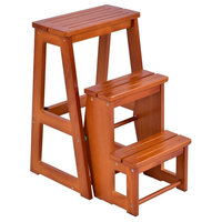 Folding Multi-functional 3-tier Ladder Wood Step Stool, Wood