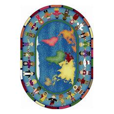 "Joy Carpets 1488DD Hands Around the World Rug, 7'8""x10'9"" Oval"