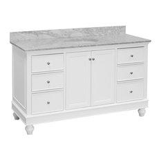 "Bella 60"" Bath Vanity, Base: White, Top: Carrara Marble, Single Vanity"
