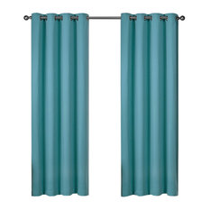 """Twill Weave  Grommet Top Curtains, Teal, 52""""x84"""""""