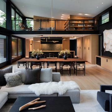 Modern Northwoods Residence Great Room & Balcony