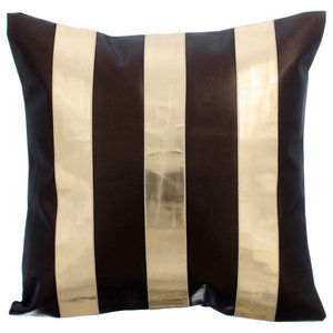 Metallic Leather Stripes 55x55 Leather Brown Cushion Covers, Alternating Gold