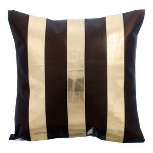 Metallic Leather Stripes 35x35 Leather Brown Cushion Covers, Alternating Gold