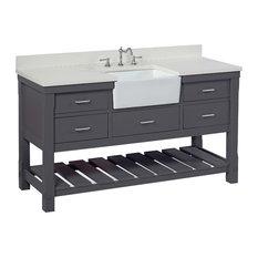 "Charlotte Bathroom Vanity, Charcoal Gray, 60"", Quartz Top, Single Sink"