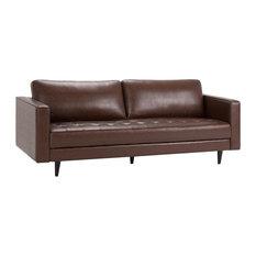 "Blaine Mid Century Modern 89x35x33"" Sofa, Distressed Cognac"