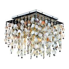 "Oyster Shell & Crystal Square Flush Mount - Cityscape 598SC, 18"" W"