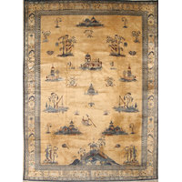 "Consigned, Peking Handmade Chinese Worn Oriental Antique Rug, Beige, 13'4""x9'10"""