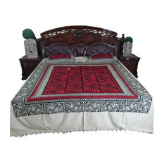 Mogul Interior - Boho Tapestry Bedcover- Indian Bedding Red Cotton Bedspread Bohemian Style - Quilts And Quilt Sets