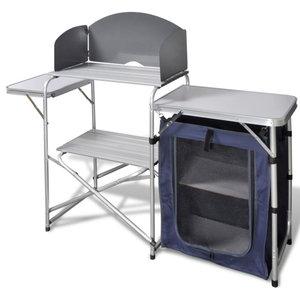 vidaXL Foldable Camping Kitchen Unit With Windshield Aluminium