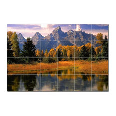 Mountain Photo Ceramic Tile Mural Kitchen Backsplash Bathroom Shower, 405501-M64