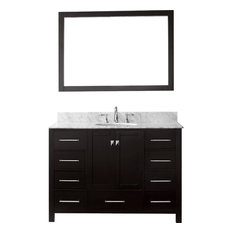 "Caroline Avenue 48"" Single Bathroom Vanity,Espresso,Marble Top,Round Sink,Mirror"