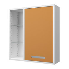 Malmö Bathroom Wall Cabinet, White and Saffron Yellow, Large
