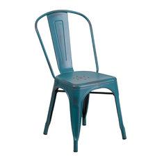 Abby Distressed Metal Indoor/Outdoor Stackable Chair, Blue