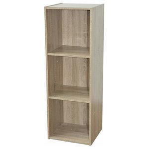 Contemporary Modular Storage Unit, Solid Wood, Oak