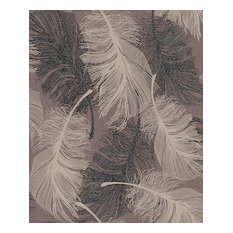 Coloroll Feather, Choc Wallpaper